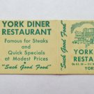 York Diner Restaurant - York, Pennsylvania 20 Strike Matchbook Cover Matchcover