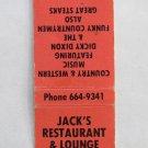 Jack's Restaurant Lounge - Lake Norman, North Carolina 20 Strike Matchbook Cover