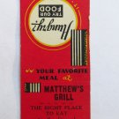 Matthew's Grill - Greensboro, North Carolina Restaurant 20 Strike Matchbook Cover