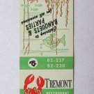 Tremont Restaurant Sea Food - York, Pennsylvania 20 Strike Matchbook Cover PA