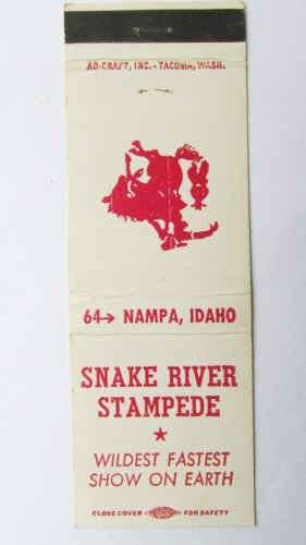 Snake River Stampede Nampa, Idaho Rodeo Sports Matchbook Cover 20 Front Strike