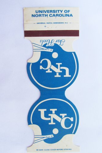 University of North Carolina UNC Tar Heels 1980 Football Sports Matchbook Cover