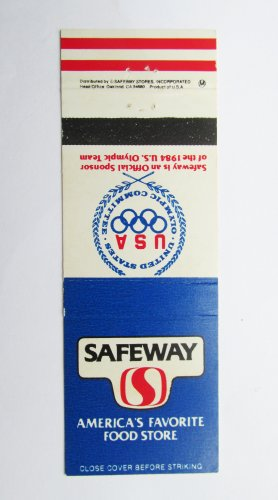 Safeway Food Store 1984 Olympics USA Sports 20 Strike Matchbook Cover Nu Made PB