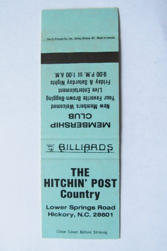 Hitchin' Post Country Billiards Hickory North Carolina 20 Strike Matchbook Cover