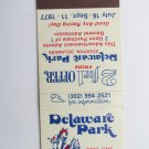 Delaware Park Stanton Horse Racing 1977 20 Strike Vintage Sports Matchbook Cover