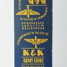 K&K Army Store Sioux Falls South Dakota Military Vntge 20 Strike Matchbook Cover