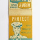 Army & Air Force Tads Huntington Sta. NY Vntg Military 20 Strike Matchbook Cover