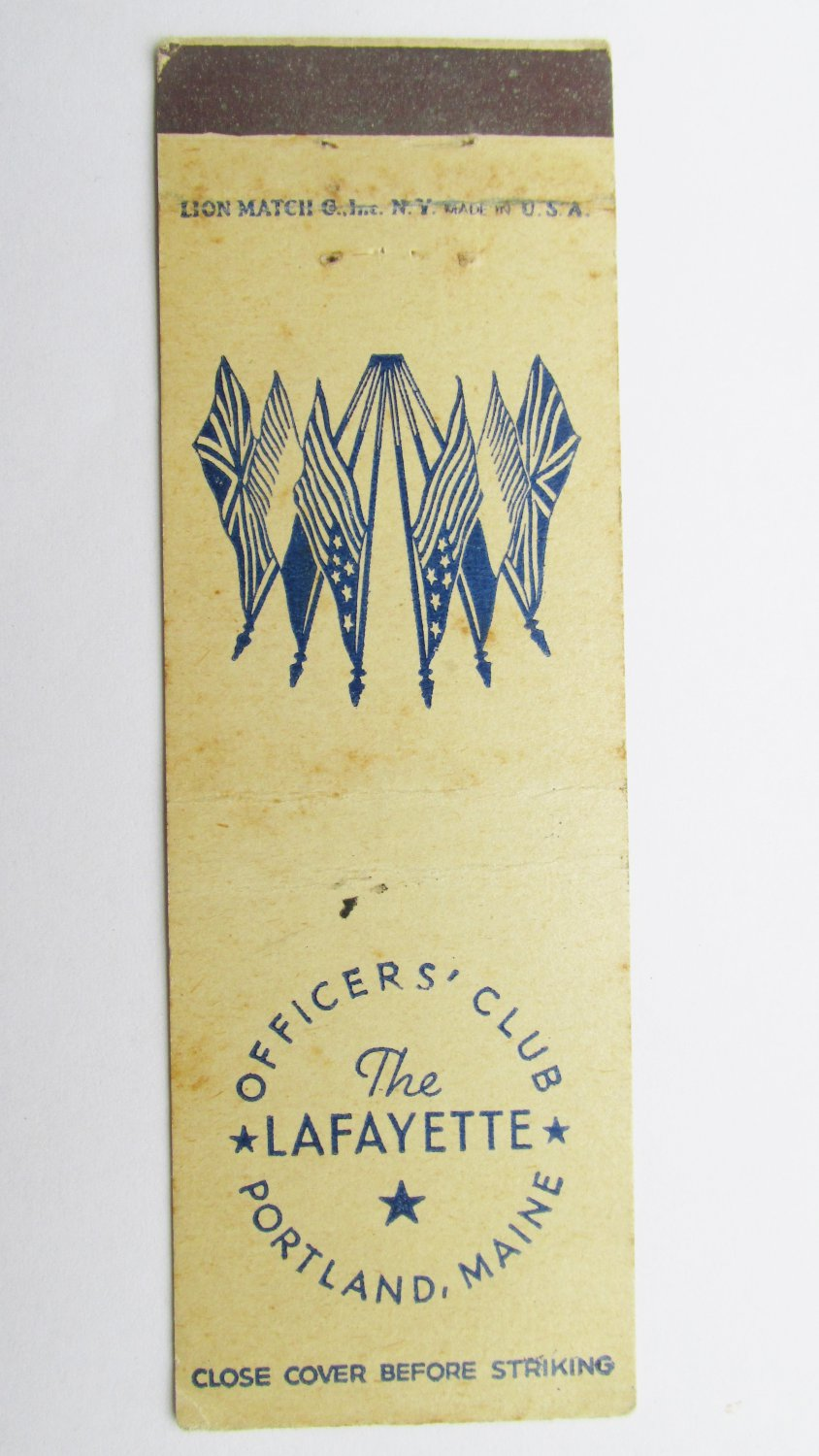 The Lafayette Portland Maine Vintage 20 Strike Military Matchbook Match Cover