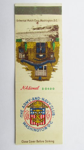 Army & Navy Club Washington DC Vintage 20 Strike Military Matchbook Match Cover