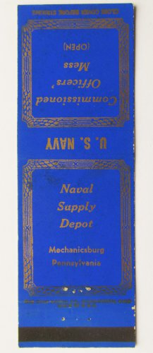 US Navy Mechanicsburg Pennsylvania PA Vintage 20 Strike Military Matchbook Cover