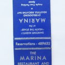 The Marina Restaurant Dinner Key, Miami, Florida 20 Strike Matchbook Match Cover