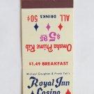 Royal Inn Casino Las Vegas, Nevada Restaurant 20 Strike Matchbook Cover