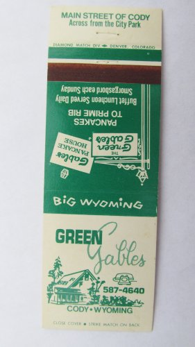 Green Gables Restaurant - Cody, Wyoming 20 Strike Matchbook Cover Matchcover
