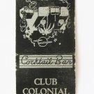 Club Colonial Eustis, Florida Restaurant Cocktail Bar 20 Strike Matchbook Cover