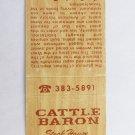 Cattle Baron steak House Edinburg, Texas TX Restaurant 20 Strike Matchbook Cover