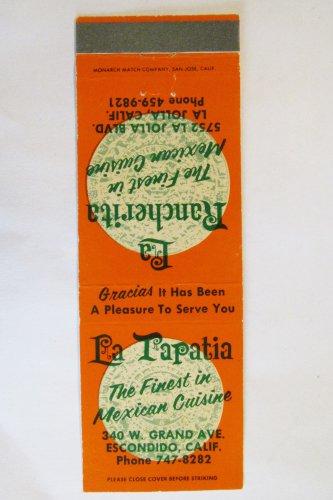 La Tapatia / La Rancherita California Mexican Restaurant Matchbook Cover 20 FS