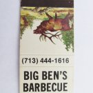 Big Ben's Barbecue Restaurant Houston Texas 20 Strike Matchbook Cover Matchcover