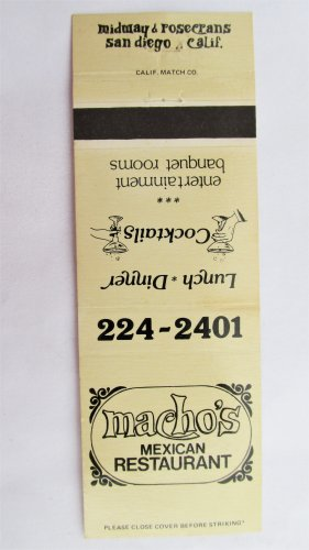 Macho's Mexican Restaurant San Diego, California 20 Strike Matchbook Match Cover