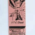 New Grand Cafe Rock Springs Wyoming Restaurant 20 Strike Matchbook Cover