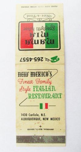 Mama Mia Italian Restaurant Albuquerque, New Mexico NM 20 Strike Matchbook Cover