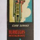 Burroughs Restaurants Curb Service Norfolk VA Virginia 20 Strike Matchbook Cover