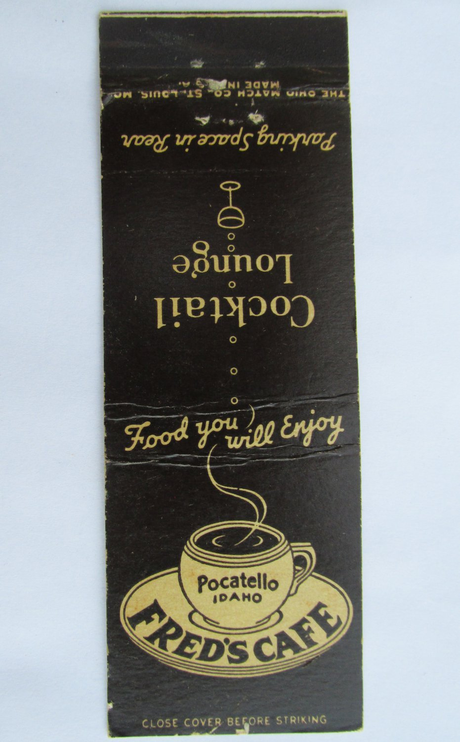 Fred's Cafe Pocatello Idaho 20 Strike Restaurant Coctail Lounge Matchbook Cover