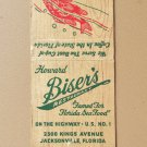 Howard Biser's Restaurant Jacksonville, Florida 20 Strike Matchbook Match Cover