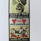 T and T Grill Restaurant Worcester Massachusetts 20 Front Strike Matchbook Cover