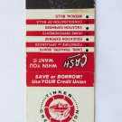 Tinker Credit Union (Oklahoma) Vintage 20 Strike Matchbook Cover Match Cover