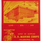 US Marine Corps Philadelphia PA Pennsylvania Military Matchbook Cover 40 Strike