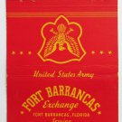 Fort Barrancas Florida United States Army 40 Strike Military Matchbook Cover FS