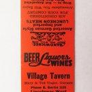 Village Tavern - Abbottstown, Pennsylvania Restaurant 20 Strike Matchbook Cover