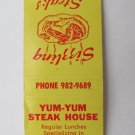 Yum-Yum Steak House - Jackson, Mississippi Restaurant 20 Strike Matchbook Cover