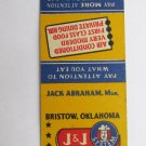 J&J Eat Shop - Bristow, Oklahoma Restaurant 20 Strike Matchbook Cover Matchcover