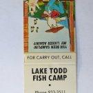 Lake Todd Fish Camp - Kannapolis, North Carolina Restaurant 20FS Matchbook Cover