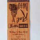 Wilber's Bar-B-Q  Goldsboro, North Carolina Restaurant 20 Strike Matchbook Cover