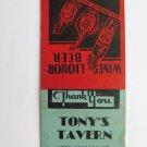 Tony's Tavern - Niagara Falls, New York Restaurant 20 Strike Matchbook Cover NY