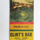 Clint's Bar - Grand Rapids, Michigan Restaurant 20 Strike Matchbook Cover MI