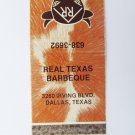 Randy's Ranch House Barbeque- Dallas, Texas Restaurant 20 Strike Matchbook Cover