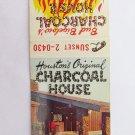 Bud Bigelow's Charcoal House Houston, Texas Restaurant 20 Strike Matchbook Cover