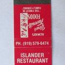 Islander Restaurant - Ocean Isle Beach, North Carolina 20 Strike Matchbook Cover