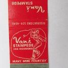 Van's Stampede - Houston, Texas 20 Strike Matchbook Cover Country C&W Dancing TX