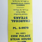 Cow Palace Steak House - Conroe, Texas Restaurant 20 Strike Matchbook Cover TX