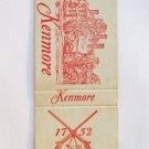 Kenmore - Fredericksburg, Virginia 20 Strike Souvenir Matchbook Cover Matchcover