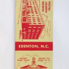 Hotel Joseph Hewes - Edenton, North Carolina 20 Strike Matchbook Match Cover NC
