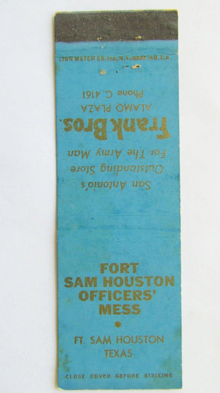 Fort Sam Houston Texas Frank Bros San Antonio 20 Strike Military Matchbook Cover