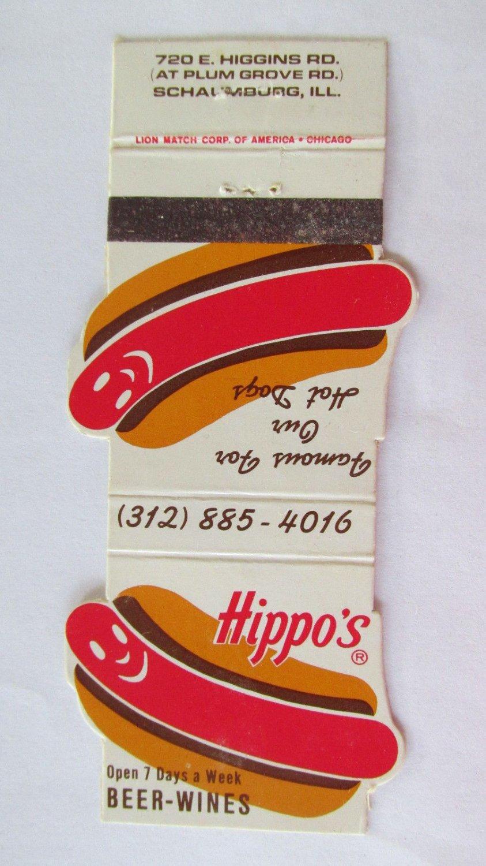 Hippo's - Schaumburg, Illinois Restaurant 20 Strike Matchbook Cover Hot Dogs IL
