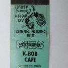 K-Bob Cafe - Princeton, Minnesota 20 Strike Matchbook Cover MN Matchcover