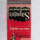 Saputo's Italian Food Springfield, Illinois Restaurant 20 Strike Matchbook Cover