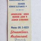 Streamliner Restaurant - Fairfax, Virginia 20 Strike Matchbook Cover Matchcover